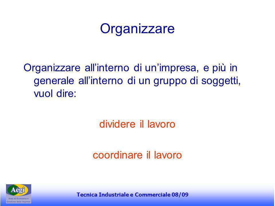 Tecnica Industriale e Commerciale 08/09 Organizzazione L'organizzazione è il complesso delle modalità secondo le quali viene effettuata la divisione del lavoro in compiti distinti e quindi viene realizzato il coordinamento fra tali compiti H.