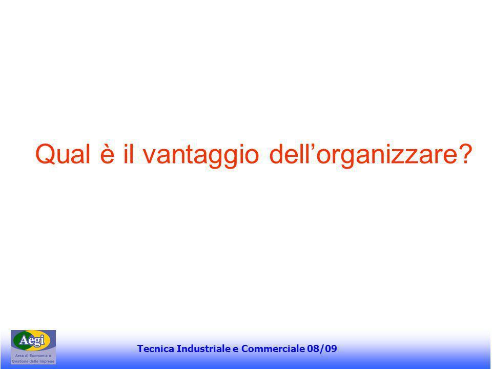 Tecnica Industriale e Commerciale 08/09 Continua… Le variabili dell'organizzazione devono essere progettate in modo da raggiungere un'armonia o coerenza interna e nel contempo una coerenza di fondo con la situazione dell'impresa e dell'ambiente in cui opera H.
