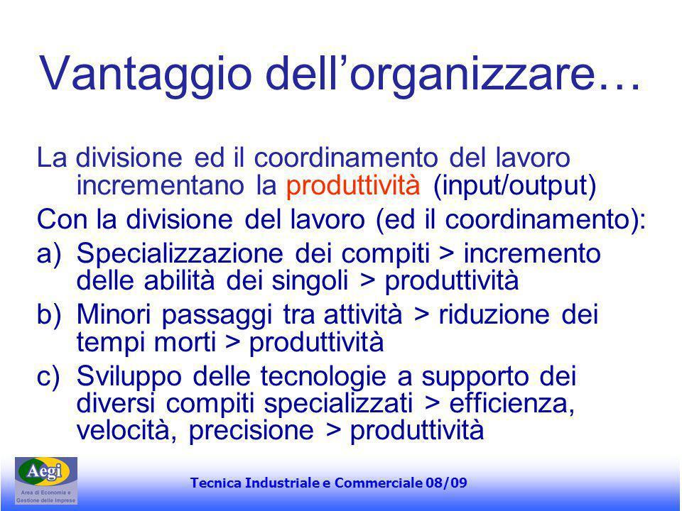 Tecnica Industriale e Commerciale 08/09 Vantaggio dell'organizzare… La divisione ed il coordinamento del lavoro incrementano la produttività (input/ou