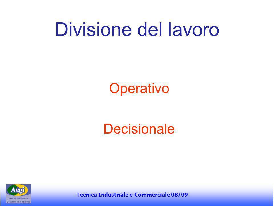 Tecnica Industriale e Commerciale 08/09 ….continua… Le condizioni orientano le scelte di fondo circa la logica organizzativa: A – meccanica B – organica C – MDT D – MDM