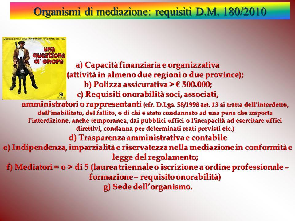 Organismi di mediazione: requisiti D.M. 180/2010 a) Capacità finanziaria e organizzativa (attività in almeno due regioni o due province); b) Polizza a