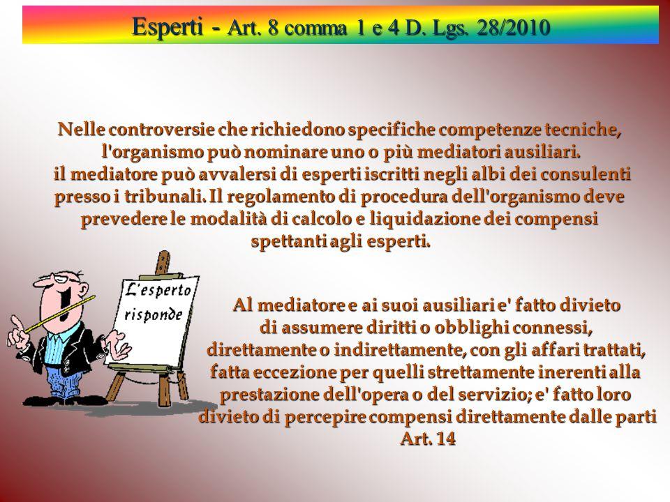 Esperti - Art. 8 comma 1 e 4 D. Lgs. 28/2010 Nelle controversie che richiedono specifiche competenze tecniche, l'organismo può nominare uno o più medi