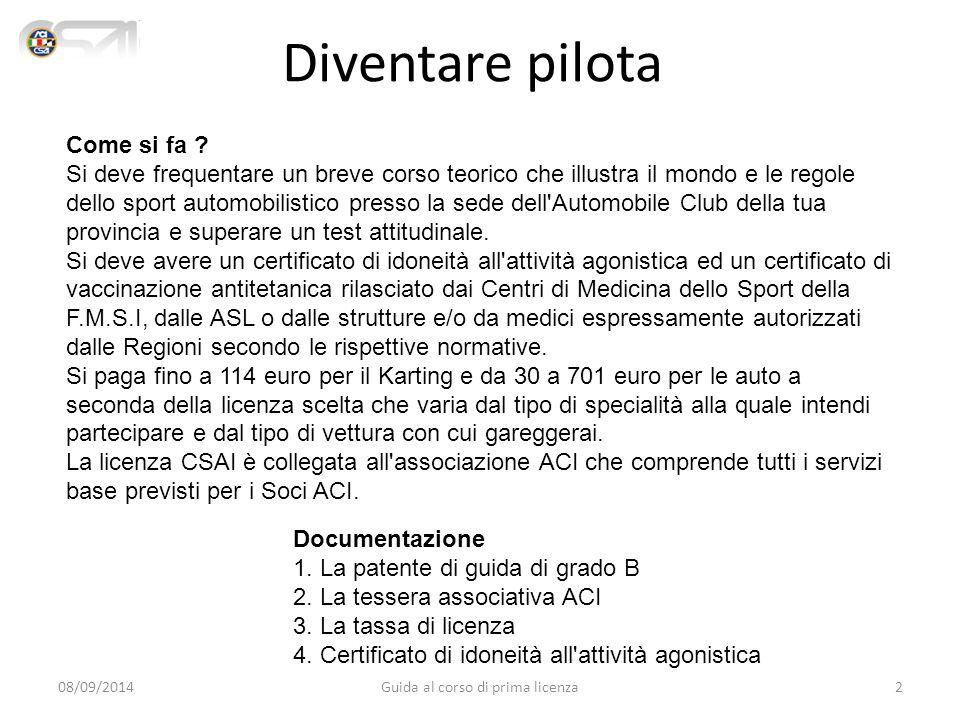 Licenze Sportive Licenza di concorrente - conduttore K Promotion Regolarità D Nazionale C Internazionale C/R A B Licenza per il kart Licenza per i minorenni dell'autocross Licenza per la regolarità Licenza per l'autocross, lo slalom, l'accelerazione, il drifting Licenza per F.1, F.3000, F.3, Sport Prototipi Hanno validità in gare che si svolgono in Italia anche a calendario FIA, nazionali a partecipazione straniera autorizzata (ENPEA) ed internazionali.