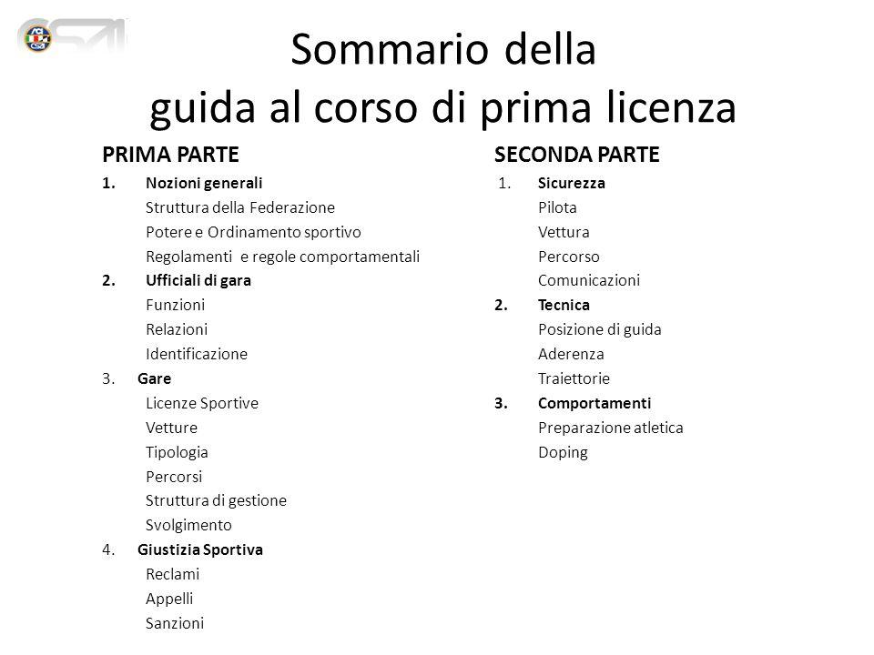 Sommario della guida al corso di prima licenza PRIMA PARTE 1.Nozioni generali Struttura della Federazione Potere e Ordinamento sportivo Regolamenti e regole comportamentali 2.