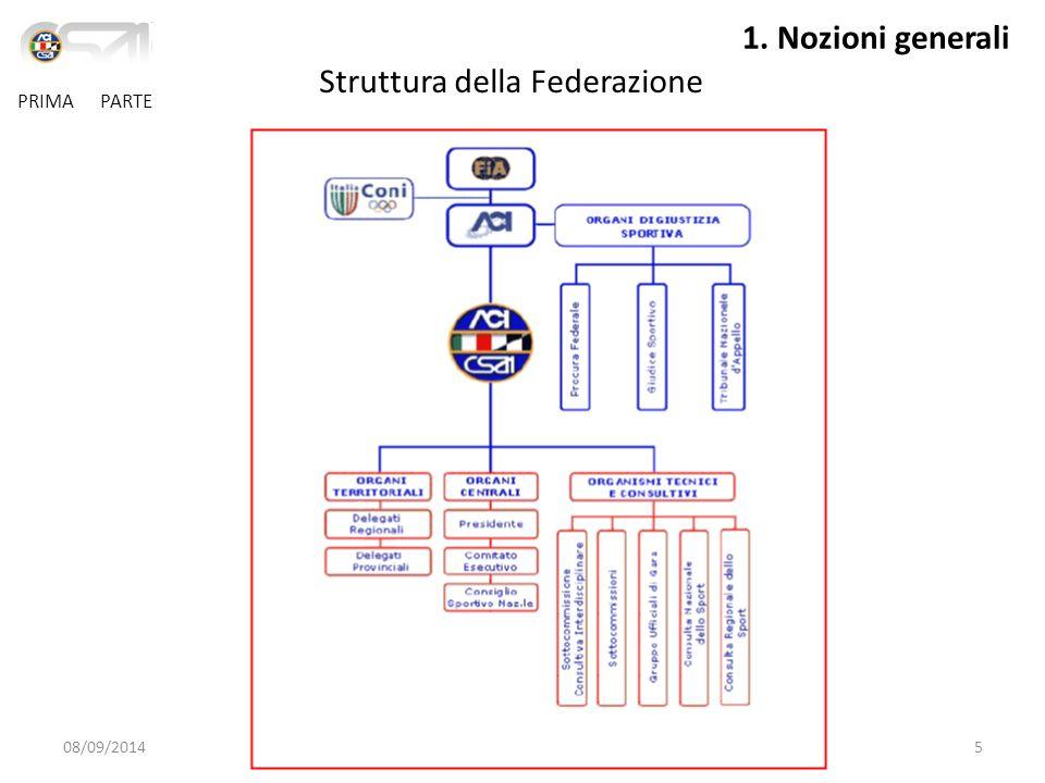 08/09/2014Guida al corso di prima licenza5 PRIMA PARTE Struttura della Federazione 1.