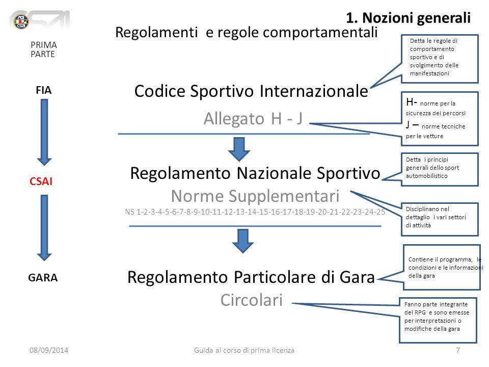 Regolamenti e regole comportamentali Codice Sportivo Internazionale Allegato H - J Regolamento Nazionale Sportivo Norme Supplementari NS 1-2-3-4-5-6-7-8-9-10-11-12-13-14-15-16-17-18-19-20-21-22-23-24-25 Regolamento Particolare di Gara Circolari FIA CSAI GARA H- norme per la sicurezza dei percorsi J – norme tecniche per le vetture Detta le regole di comportamento sportivo e di svolgimento delle manifestazioni Detta i principi generali dello sport automobilistico Disciplinano nel dettaglio i vari settori di attività Contiene il programma, le condizioni e le informazioni della gara Fanno parte integrante del RPG e sono emesse per interpretazioni o modifiche della gara 08/09/20147Guida al corso di prima licenza PRIMA PARTE 1.