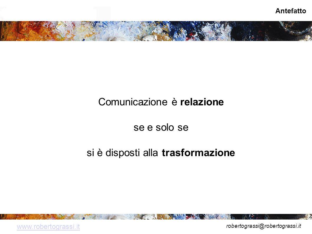 robertograssi@robertograssi.it www.robertograssi.it Antefatto Comunicazione è relazione se e solo se si è disposti alla trasformazione