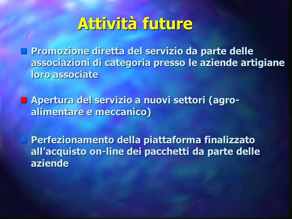 Attività future nPromozione diretta del servizio da parte delle associazioni di categoria presso le aziende artigiane loro associate nApertura del ser