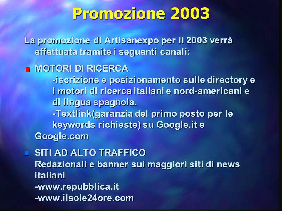Promozione 2003 La promozione di Artisanexpo per il 2003 verrà effettuata tramite i seguenti canali:  MOTORI DI RICERCA -iscrizione e posizionamento sulle directory e i motori di ricerca italiani e nord-americani e di lingua spagnola.