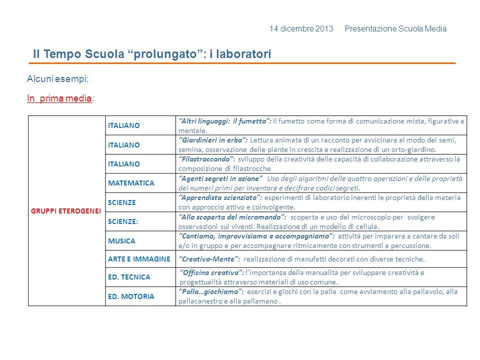 """14 dicembre 2013 Presentazione Scuola Media Il Tempo Scuola """"prolungato"""": i laboratori Alcuni esempi: In prima media: GRUPPI ETEROGENEI ITALIANO """"Altr"""