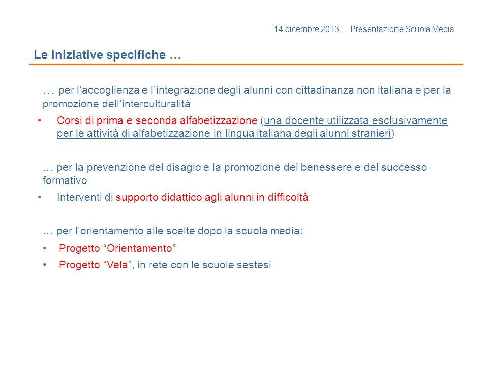 14 dicembre 2013 Presentazione Scuola Media Le iniziative specifiche … … per l'accoglienza e l'integrazione degli alunni con cittadinanza non italiana