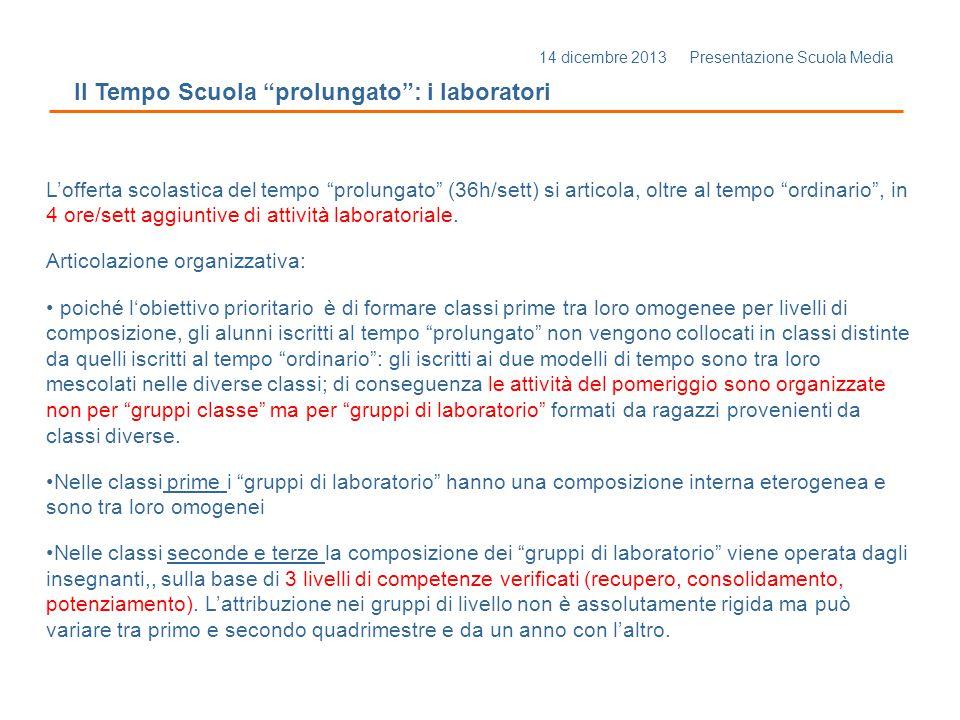 14 dicembre 2013 Presentazione Scuola Media Il Tempo Scuola prolungato : i laboratori Articolazione organizzativa: Il prolungamento di orario del T.P.