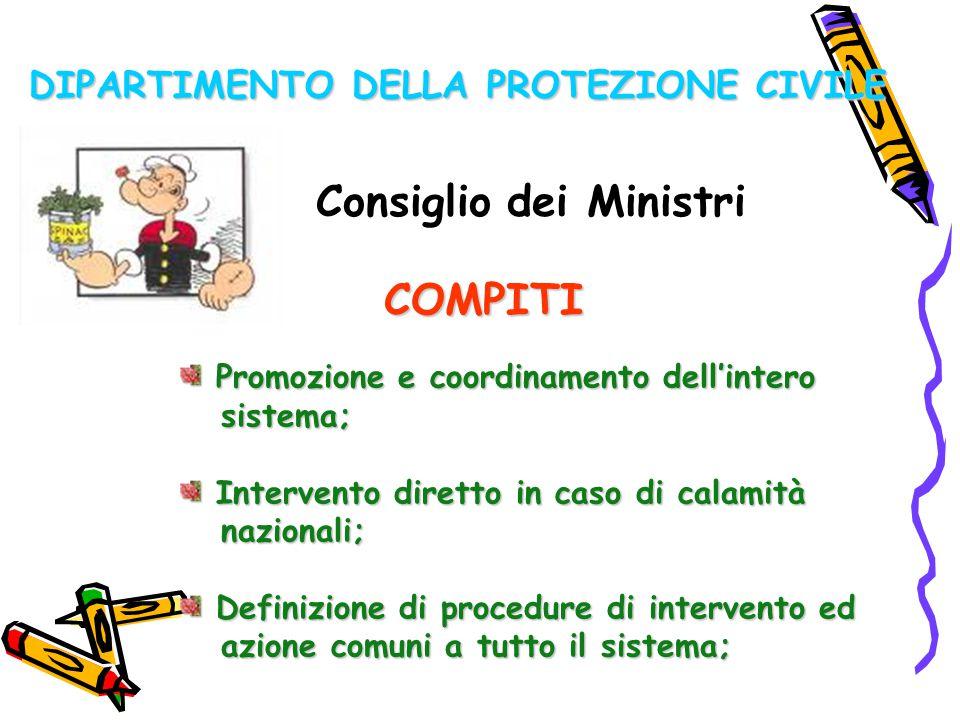DIPARTIMENTO DELLA PROTEZIONE CIVILE Consiglio dei Ministri COMPITI Promozione e coordinamento dell'intero Promozione e coordinamento dell'intero sist