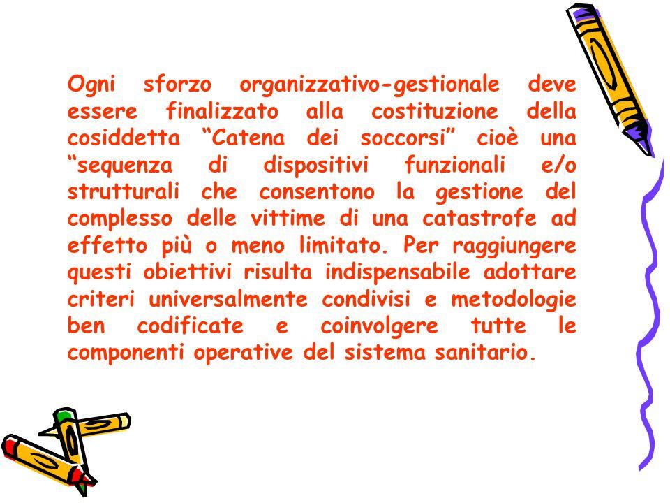 """Ogni sforzo organizzativo-gestionale deve essere finalizzato alla costituzione della cosiddetta """"Catena dei soccorsi"""" cioè una """"sequenza di dispositiv"""