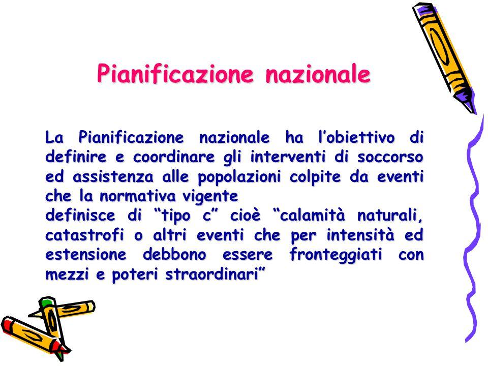 Pianificazione nazionale La Pianificazione nazionale ha l'obiettivo di definire e coordinare gli interventi di soccorso ed assistenza alle popolazioni