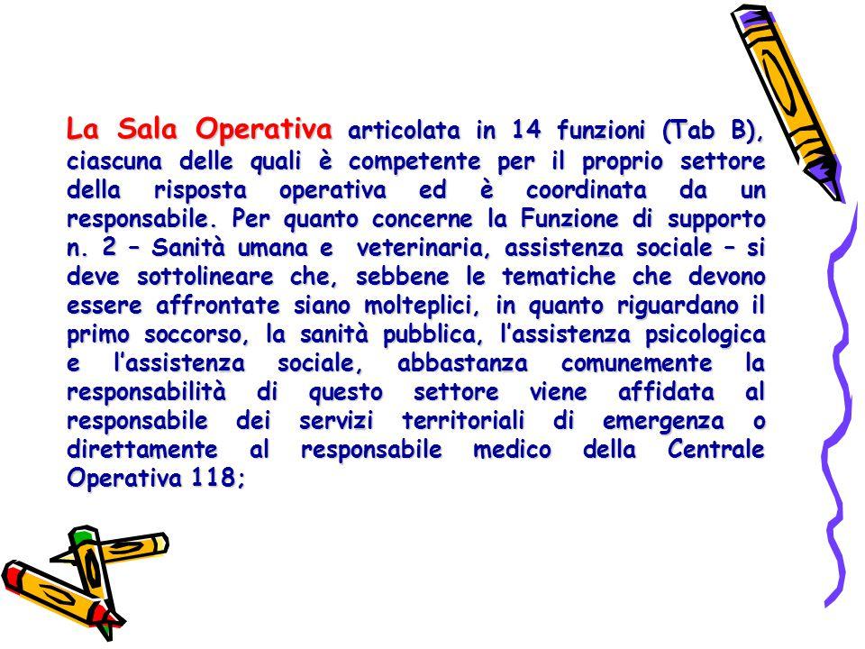 La Sala Operativa articolata in 14 funzioni (Tab B), ciascuna delle quali è competente per il proprio settore della risposta operativa ed è coordinata