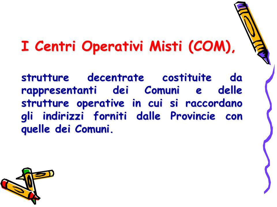I Centri Operativi Misti (COM), strutture decentrate costituite da rappresentanti dei Comuni e delle strutture operative in cui si raccordano gli indi