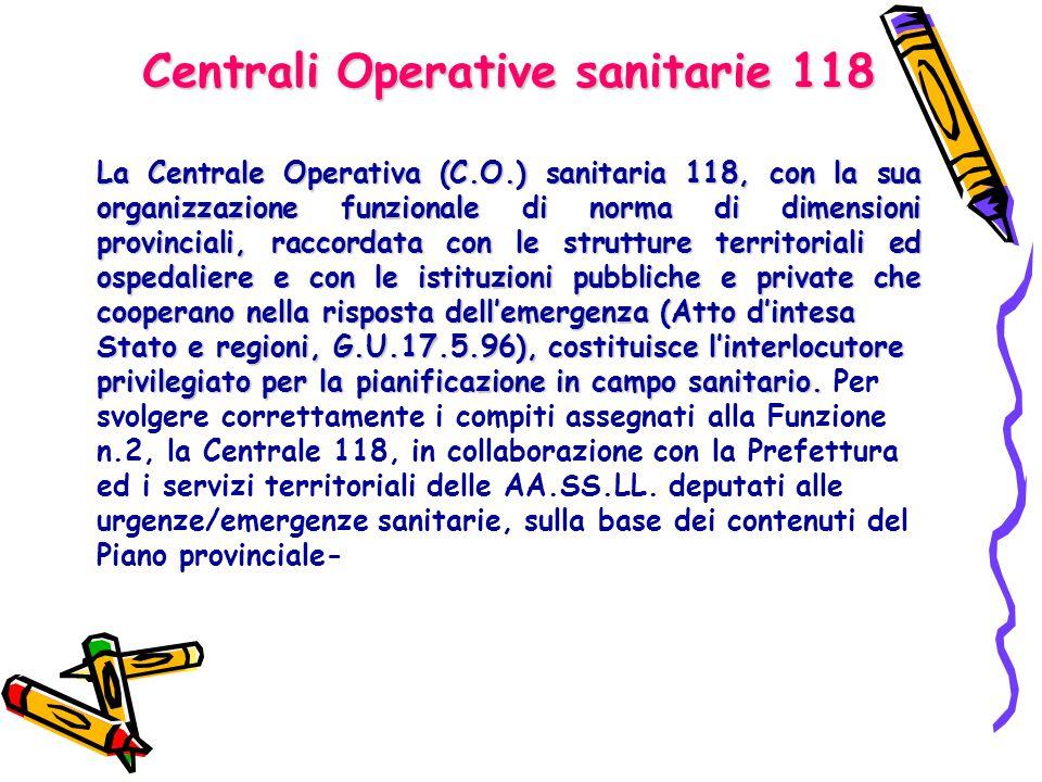 Centrali Operative sanitarie 118 La Centrale Operativa (C.O.) sanitaria 118, con la sua organizzazione funzionale di norma di dimensioni provinciali,