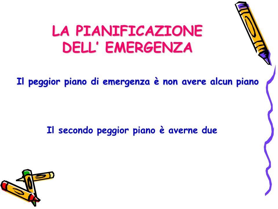 LA PIANIFICAZIONE DELL' EMERGENZA Il peggior piano di emergenza è non avere alcun piano Il secondo peggior piano è averne due