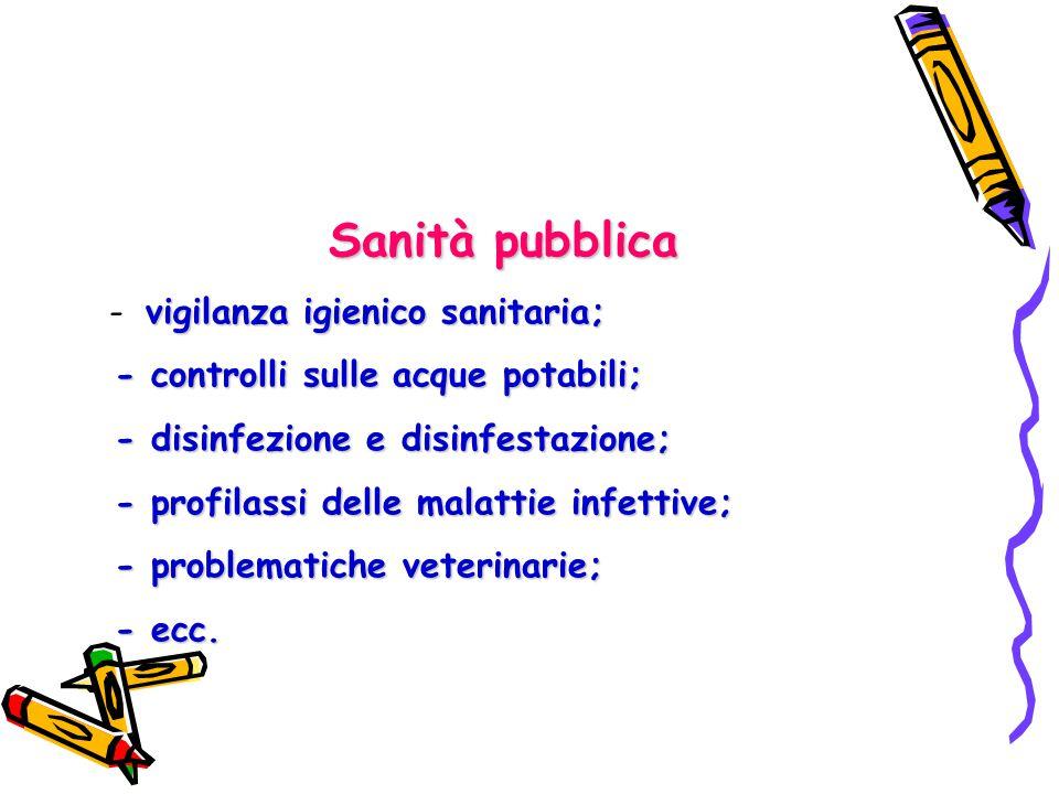 Sanità pubblica vigilanza igienico sanitaria; - vigilanza igienico sanitaria; - controlli sulle acque potabili; - controlli sulle acque potabili; - di