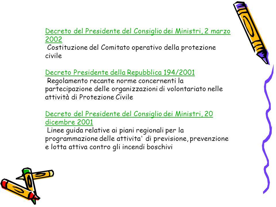 Decreto del Presidente del Consiglio dei Ministri, 2 marzo 2002 Decreto del Presidente del Consiglio dei Ministri, 2 marzo 2002 Costituzione del Comit
