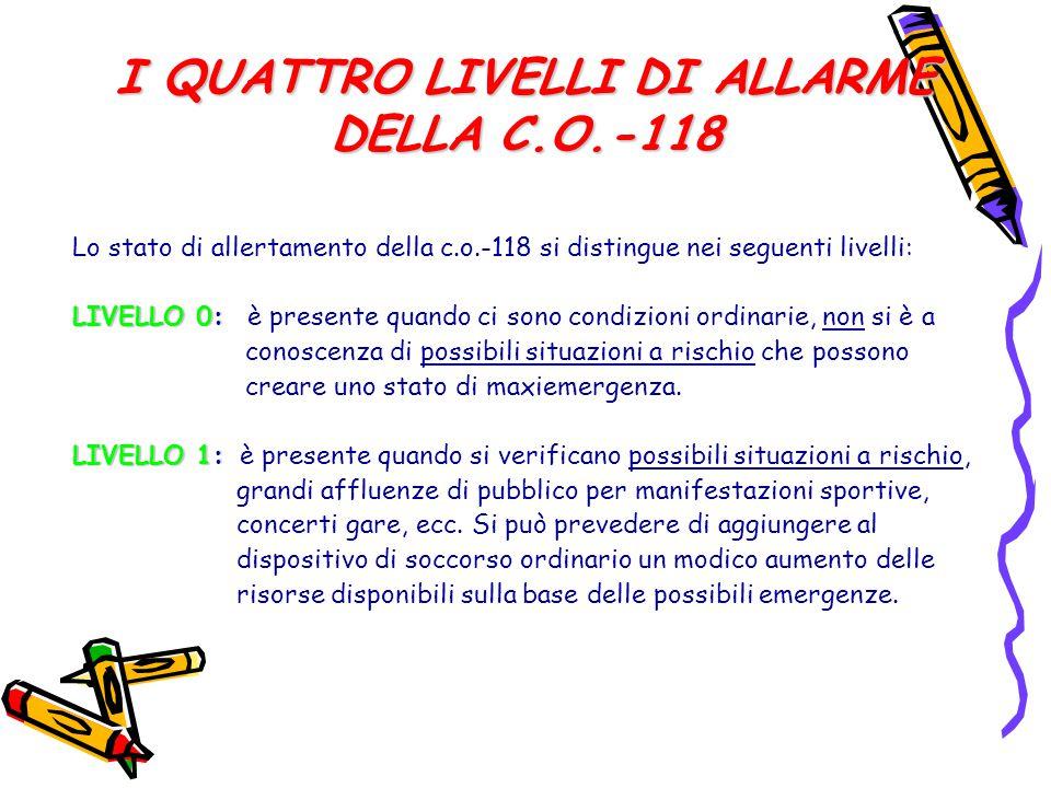 I QUATTRO LIVELLI DI ALLARME DELLA C.O.-118 Lo stato di allertamento della c.o.-118 si distingue nei seguenti livelli: LIVELLO 0: LIVELLO 0: è present