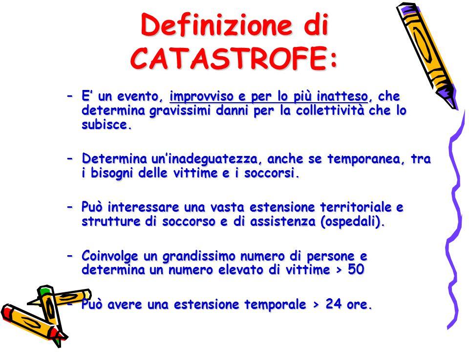 Definizione di CATASTROFE: –E' un evento, improvviso e per lo più inatteso, che determina gravissimi danni per la collettività che lo subisce. –Determ