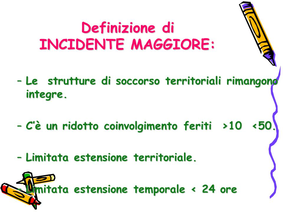 Definizione di INCIDENTE MAGGIORE: –Le strutture di soccorso territoriali rimangono integre. –C'è un ridotto coinvolgimento feriti >10 10 <50. –Limita
