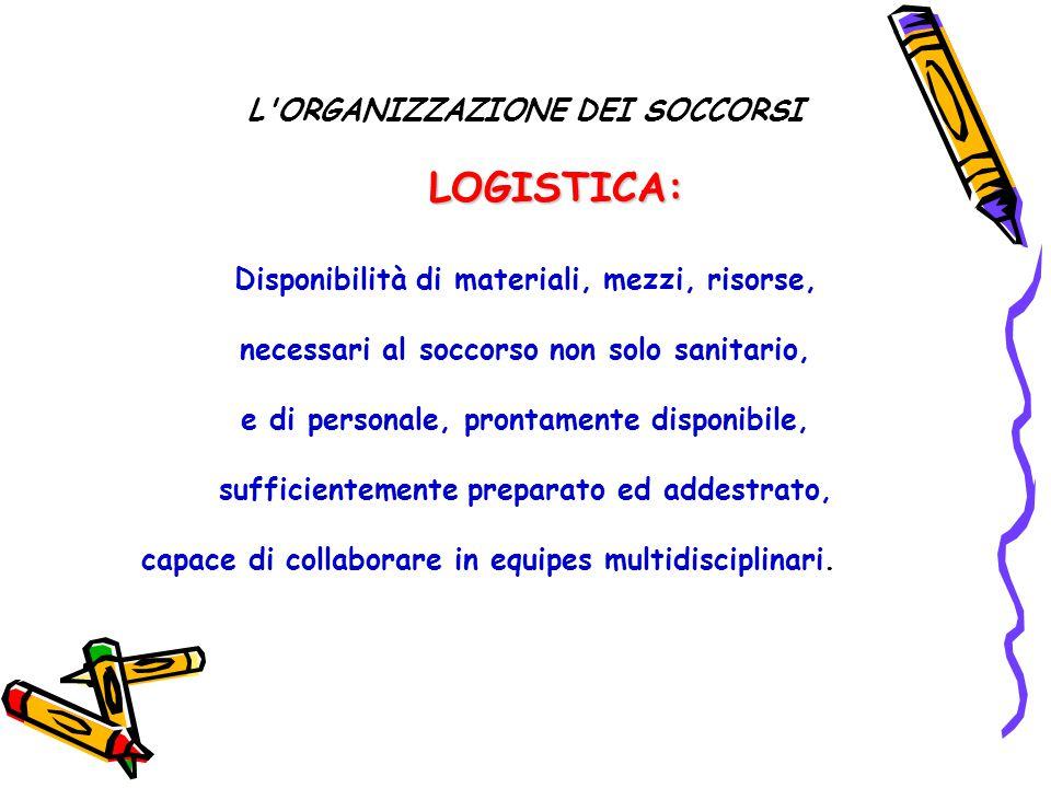 L'ORGANIZZAZIONE DEI SOCCORSI LOGISTICA: Disponibilità di materiali, mezzi, risorse, necessari al soccorso non solo sanitario, e di personale, prontam