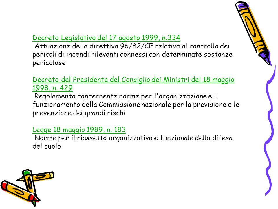 Decreto Legislativo del 17 agosto 1999, n.334 Decreto Legislativo del 17 agosto 1999, n.334 Attuazione della direttiva 96/82/CE relativa al controllo