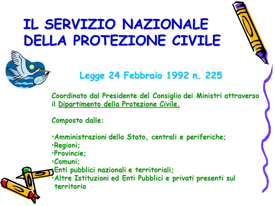 IL SERVIZIO NAZIONALE DELLA PROTEZIONE CIVILE Legge 24 Febbraio 1992 n. 225 Coordinato dal Presidente del Consiglio dei Ministri attraverso il Diparti