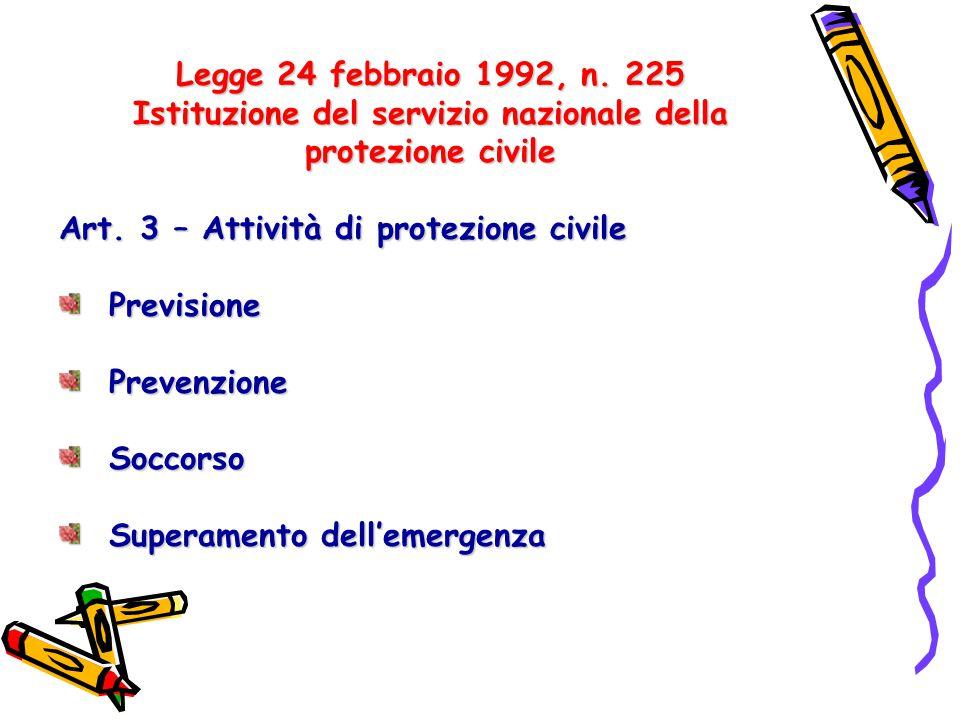 Legge 24 febbraio 1992, n. 225 Istituzione del servizio nazionale della protezione civile Art. 3 – Attività di protezione civile Previsione Previsione