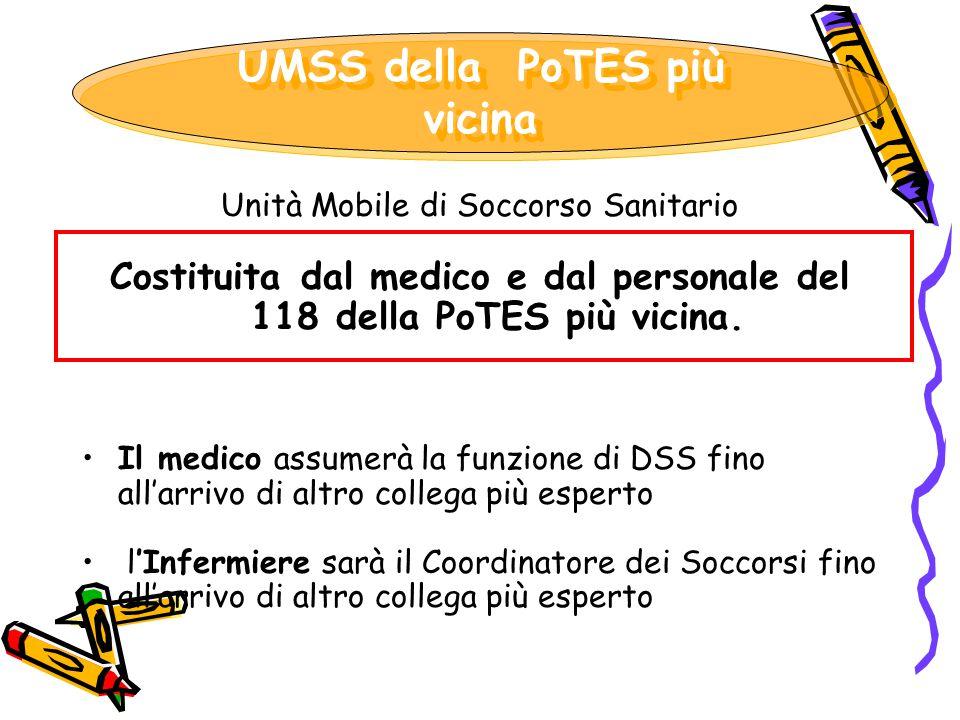 Unità Mobile di Soccorso Sanitario Costituita dal medico e dal personale del 118 della PoTES più vicina. Il medico assumerà la funzione di DSS fino al