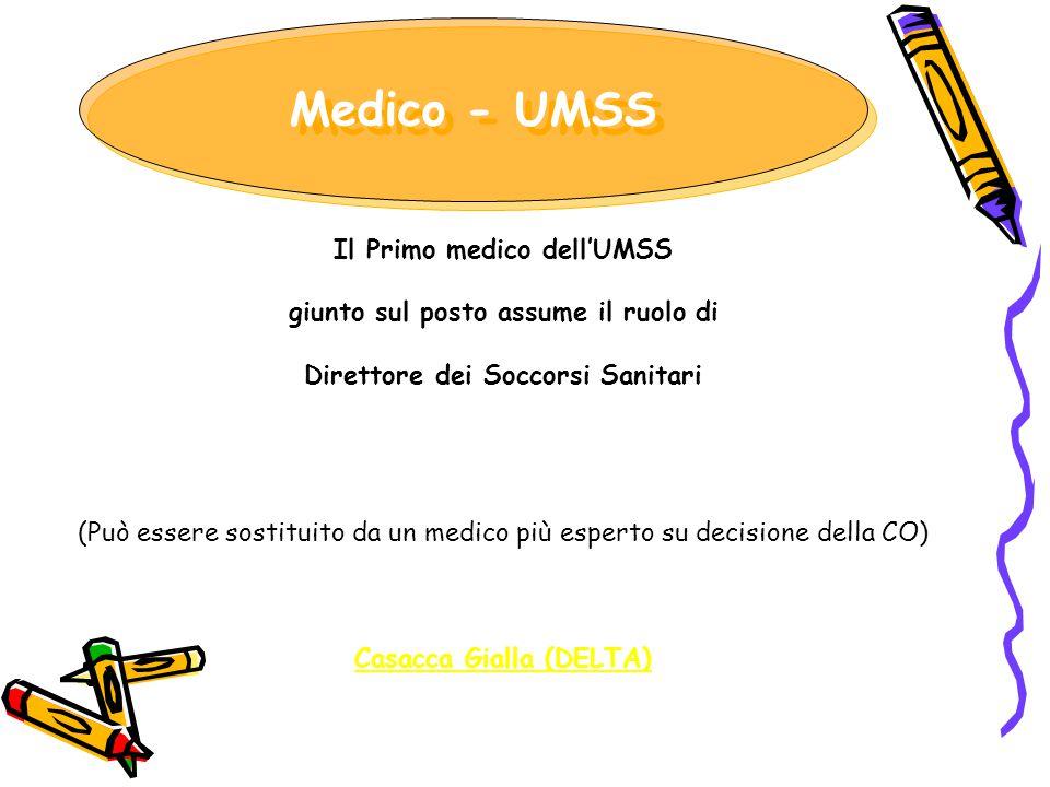 Il Primo medico dell'UMSS giunto sul posto assume il ruolo di Direttore dei Soccorsi Sanitari (Può essere sostituito da un medico più esperto su decis