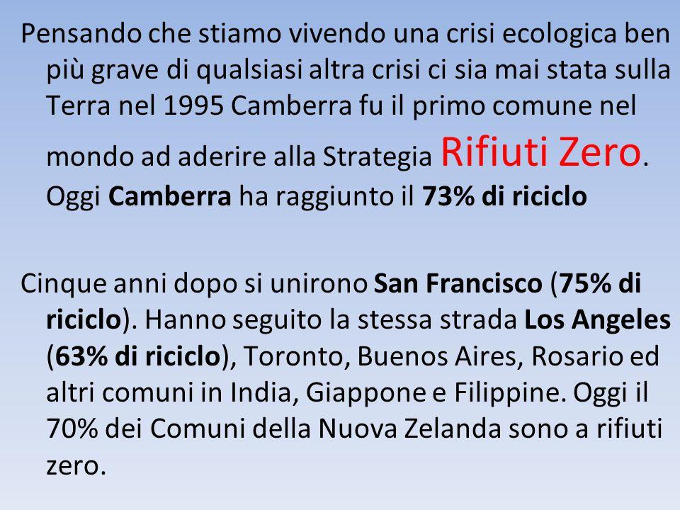 Pensando che stiamo vivendo una crisi ecologica ben più grave di qualsiasi altra crisi ci sia mai stata sulla Terra nel 1995 Camberra fu il primo comu