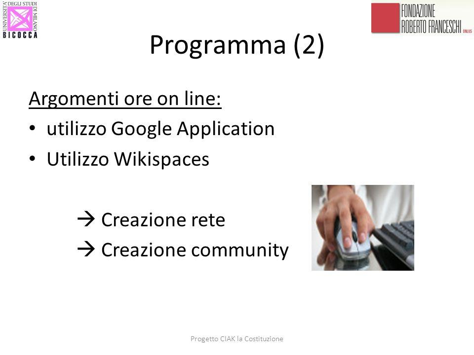 Programma (2) Argomenti ore on line: utilizzo Google Application Utilizzo Wikispaces  Creazione rete  Creazione community Progetto CIAK la Costituzi
