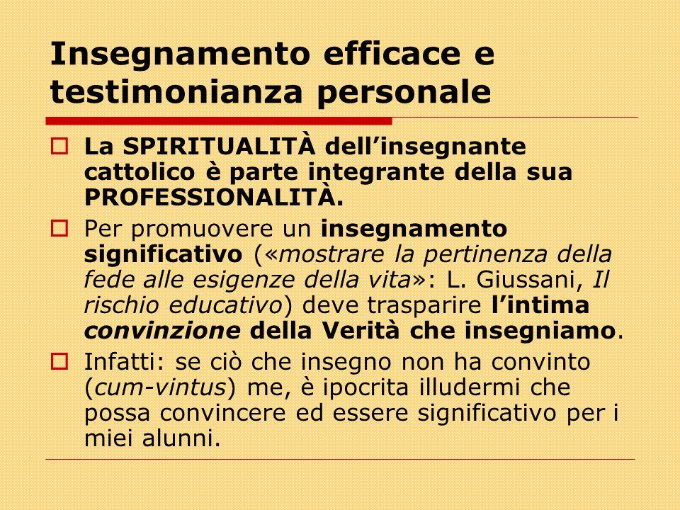 Insegnamento efficace e testimonianza personale  La SPIRITUALITÀ dell'insegnante cattolico è parte integrante della sua PROFESSIONALITÀ.