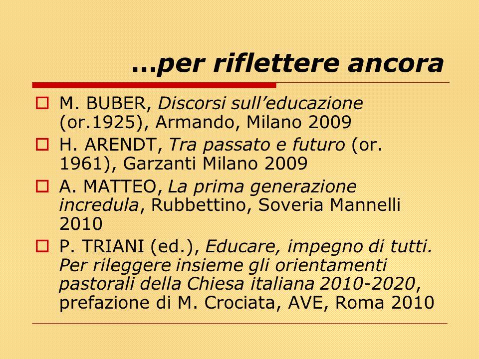 …per riflettere ancora  M. BUBER, Discorsi sull'educazione (or.1925), Armando, Milano 2009  H. ARENDT, Tra passato e futuro (or. 1961), Garzanti Mil
