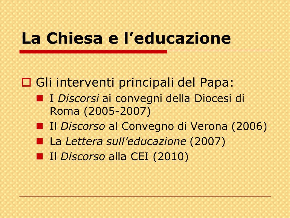 La Chiesa e l'educazione  Gli interventi principali del Papa: I Discorsi ai convegni della Diocesi di Roma (2005-2007) Il Discorso al Convegno di Verona (2006) La Lettera sull'educazione (2007) Il Discorso alla CEI (2010)