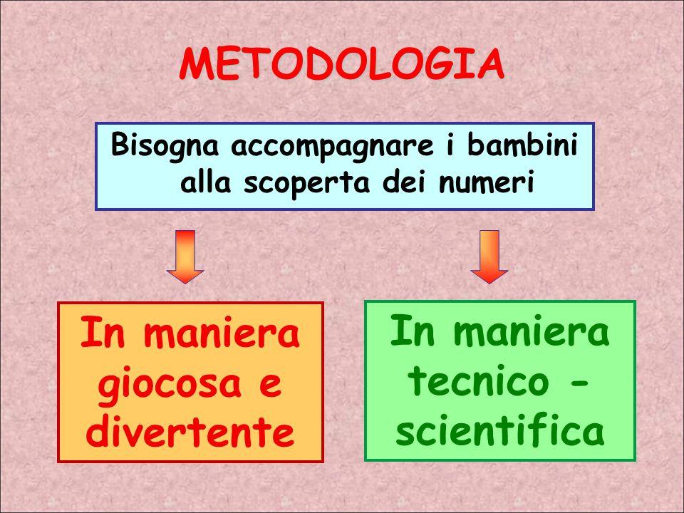 METODOLOGIA Bisogna accompagnare i bambini alla scoperta dei numeri In maniera giocosa e divertente In maniera tecnico - scientifica