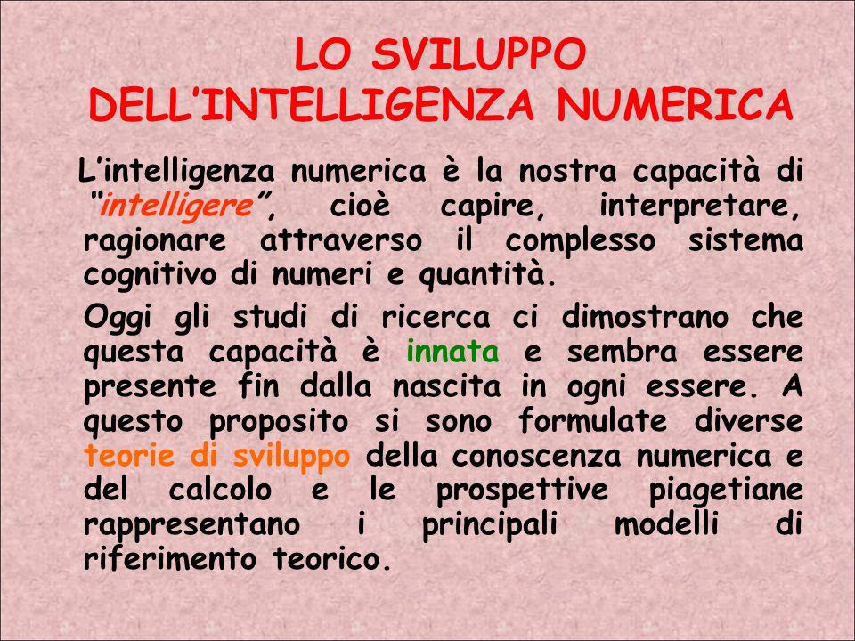 LO SVILUPPO DELL'INTELLIGENZA NUMERICA L'intelligenza numerica è la nostra capacità di intelligere , cioè capire, interpretare, ragionare attraverso il complesso sistema cognitivo di numeri e quantità.
