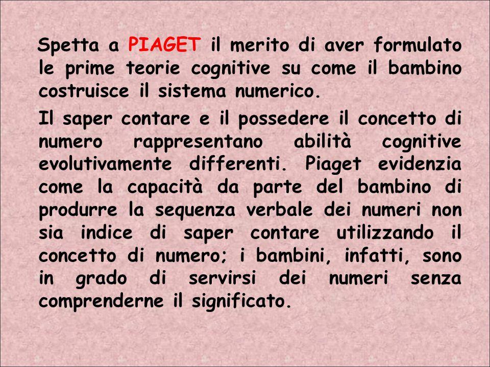 Spetta a PIAGET il merito di aver formulato le prime teorie cognitive su come il bambino costruisce il sistema numerico.