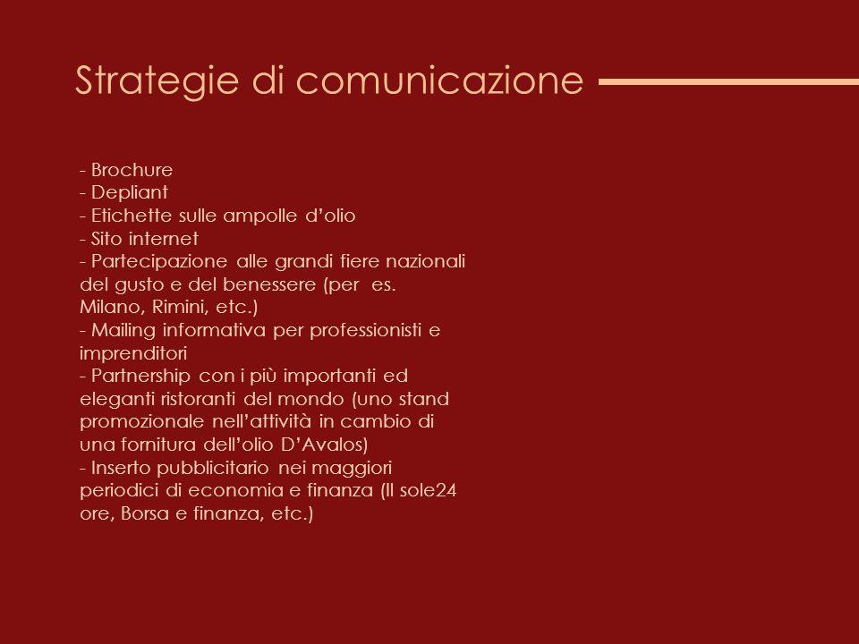 Strategie di comunicazione - Brochure - Depliant - Etichette sulle ampolle d'olio - Sito internet - Partecipazione alle grandi fiere nazionali del gusto e del benessere (per es.