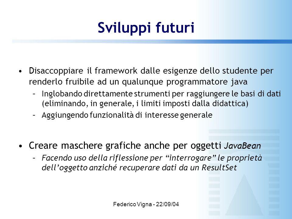 Federico Vigna - 22/09/04 Sviluppi futuri Disaccoppiare il framework dalle esigenze dello studente per renderlo fruibile ad un qualunque programmatore