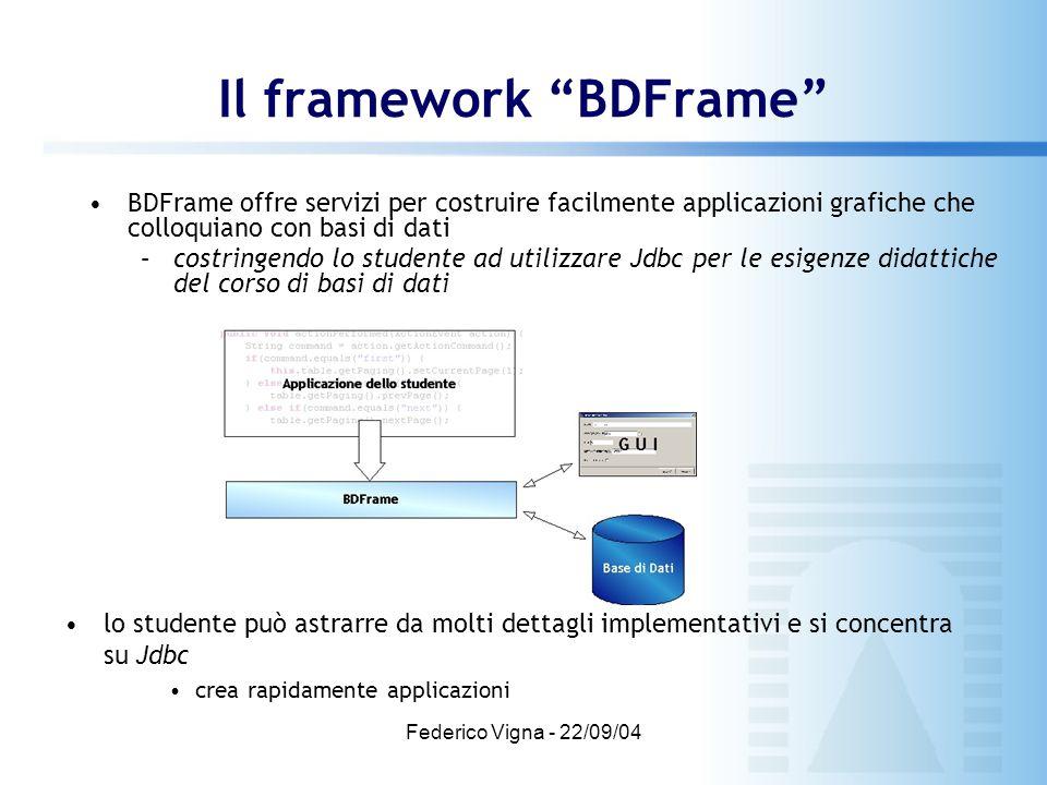 Federico Vigna - 22/09/04 BDFrame offre servizi per costruire facilmente applicazioni grafiche che colloquiano con basi di dati –costringendo lo stude