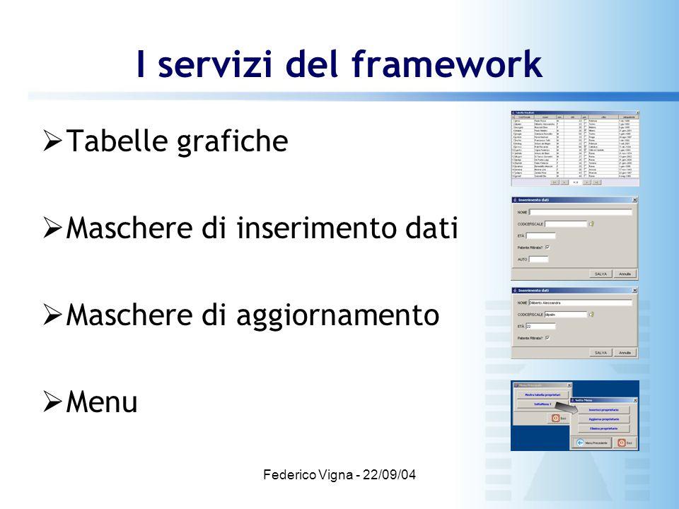 Federico Vigna - 22/09/04 I servizi del framework  Tabelle grafiche  Maschere di inserimento dati  Maschere di aggiornamento  Menu