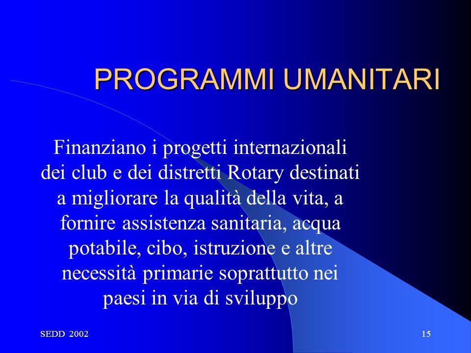 SEDD 200215 PROGRAMMI UMANITARI Finanziano i progetti internazionali dei club e dei distretti Rotary destinati a migliorare la qualità della vita, a f