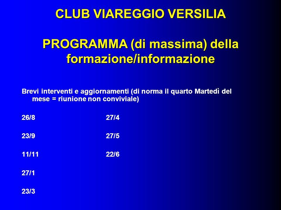 CLUB VIAREGGIO VERSILIA PROGRAMMA (di massima) della formazione/informazione Brevi interventi e aggiornamenti (di norma il quarto Martedì del mese = r
