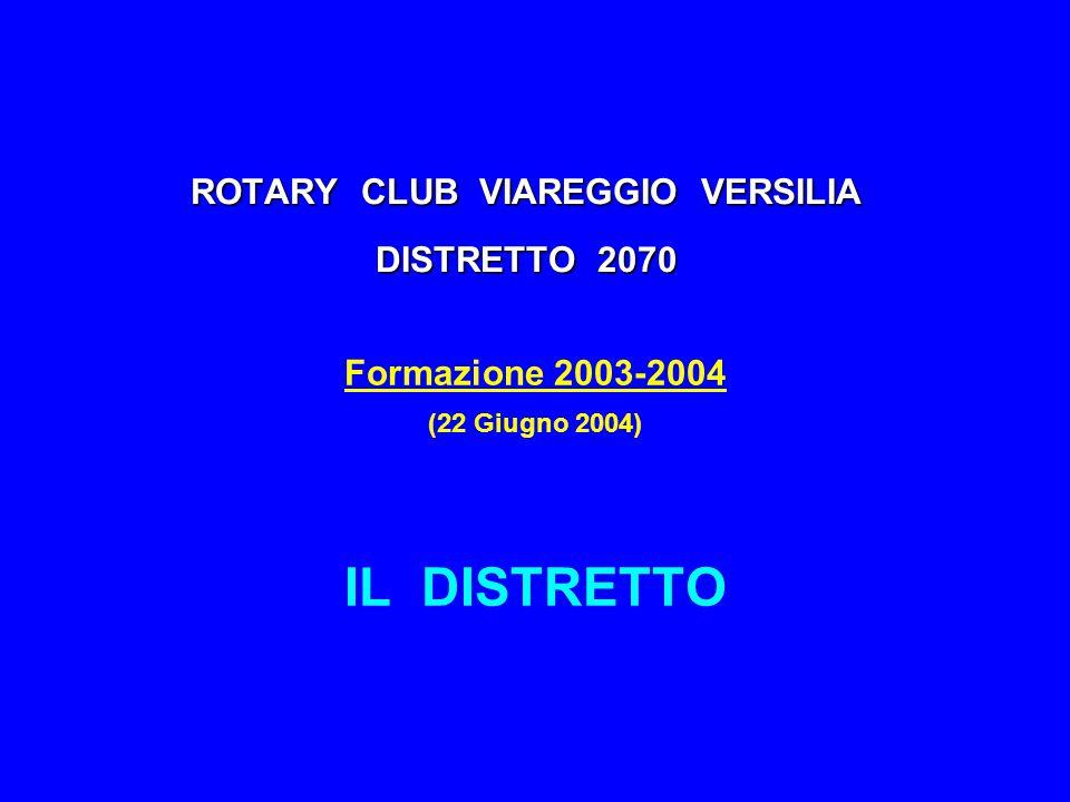 ROTARY CLUB VIAREGGIO VERSILIA DISTRETTO 2070 Formazione 2003-2004 (22 Giugno 2004) IL DISTRETTO