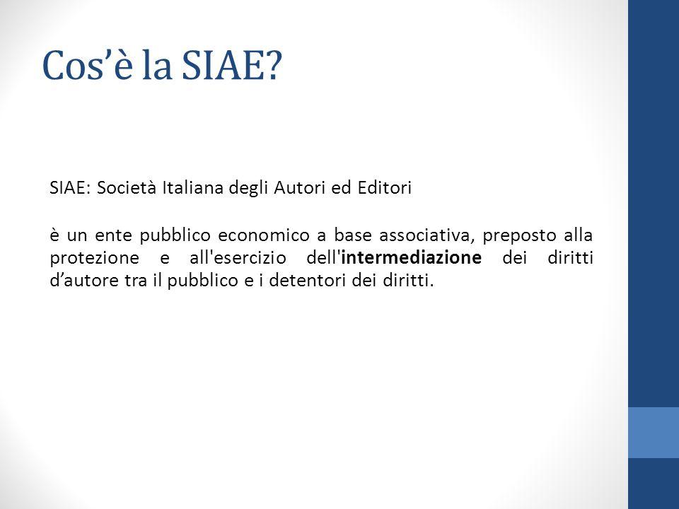 Cos'è la SIAE? SIAE: Società Italiana degli Autori ed Editori è un ente pubblico economico a base associativa, preposto alla protezione e all'esercizi